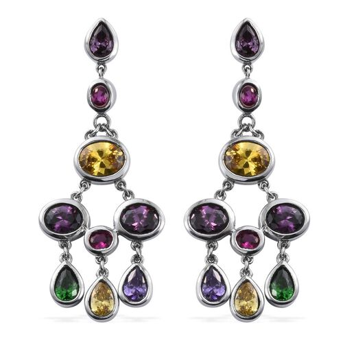 AAA Simulated Citrine (Ovl), Simulated Tanzanite, Simulated Emerald, Simulated Amethyst and Simulated Rhodolite Garnet Earrings in ION Plated Stainless Steel