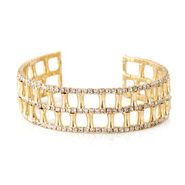 Designer Inspired-AAA Austrian Crystal Cuff Bangle (Size 7) in Gold Bond