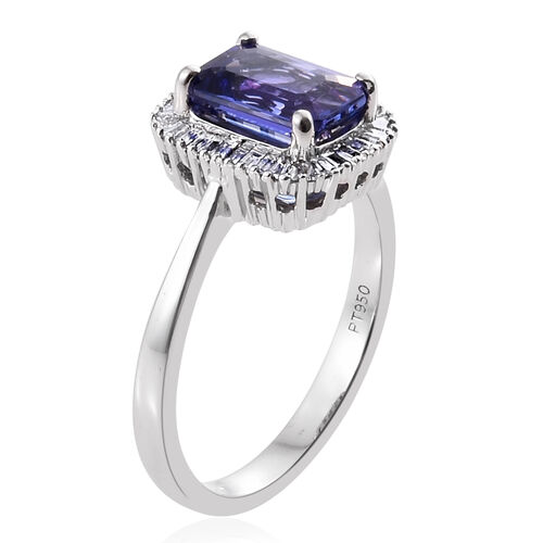RHAPSODY 950 Platinum 1.95 Ct AAAA Tanzanite Halo Ring with Diamond (VS/E-F)