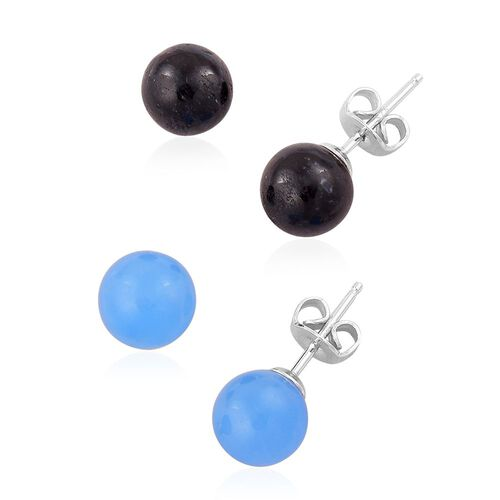 Mega Auction - Set of 2 - Blue and Black Jade Ball Stud Earrings (with Push Back) in Platinum Overlay Sterling Silver 18.680 Ct.