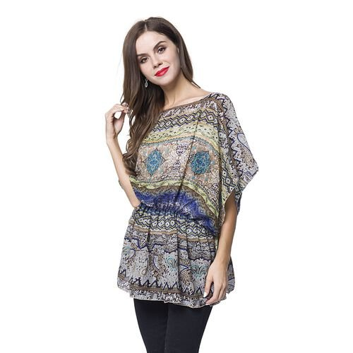Designer Inspired - Blue, Grey and Multi Colour Bohemian Pattern Poncho (Free Size)