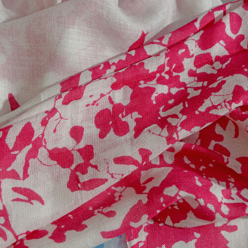 Pink and White Colour Flying Birds Printed Scarf with Fringes (Size 180X100 Cm)