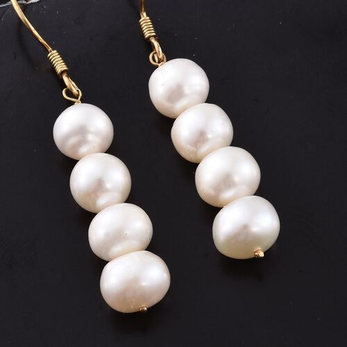 Fresh Water Pearl Hook Earrings in 14K Gold Overlay Sterling Silver
