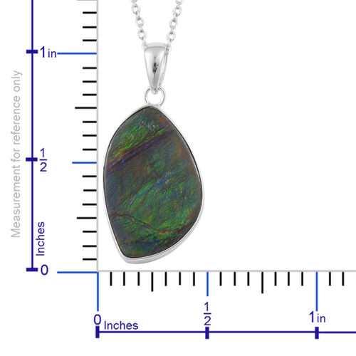 Canadian Ammolite Pendant With Chain in Rhodium Plated Sterling Silver 14.250 Ct.