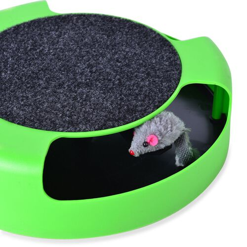 Black and Green Colour Catch the Mouse Toy for Pets (Size 25x25 Cm)