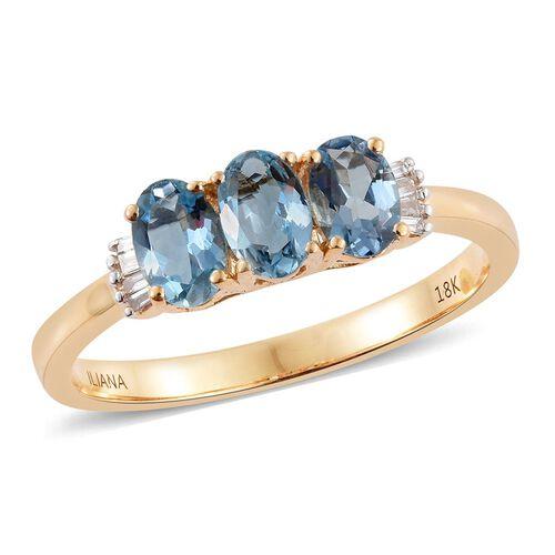 ILIANA 18K Yellow Gold AAA Santa Maria Aquamarine (Ovl), Diamond (SI/G-H) Ring 1.250 Ct.
