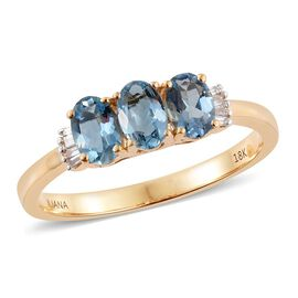 ILIANA 18K Y Gold AAA Santa Maria Aquamarine (Ovl), Diamond (SI/G-H) Ring 1.250 Ct.