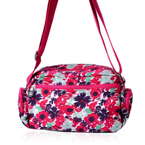 Red, Pink and Multi Colour Floral Pattern Sports Bag with External Zipper Pocket and Adjustable Shoulder Strap (Size 25x18x9 Cm)