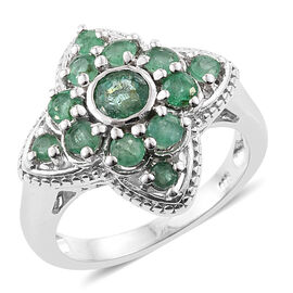 Kagem Zambian Emerald (Rnd) Ring in Platinum Overlay Sterling Silver 1.50 Ct. Silver wt 5.14 Gms.