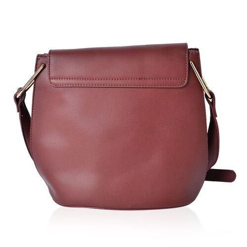 Maroon Red Crossbody Bag With Adjustable Shoulder Strap (Size 26.5x22.5x13 Cm)