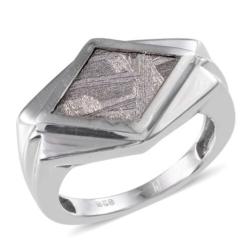 Meteorite Solitaire Ring in Platinum Overlay Sterling Silver 6.500 Ct.