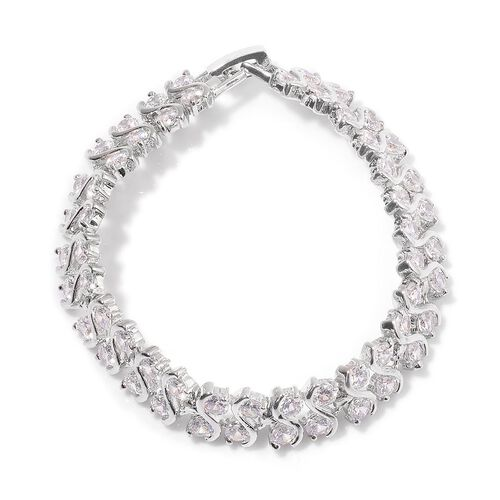 AAA Simulated White Diamond Bracelet (Size 7) in Silver Tone