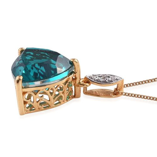 Capri Blue Quartz (Trl 9.75 Ct), Diamond Pendant With Chain in 14K Gold Overlay Sterling Silver 9.770 Ct.