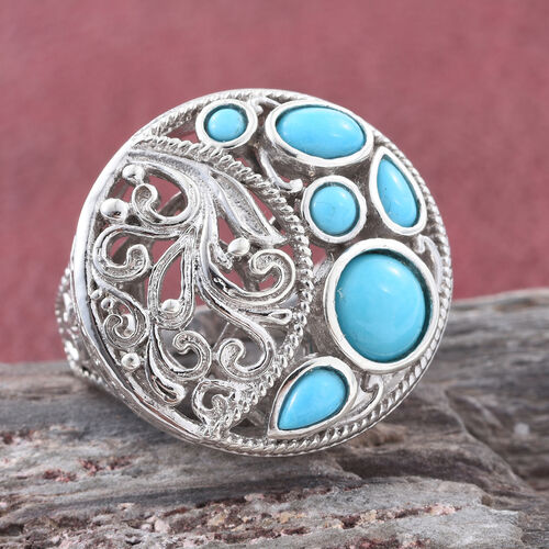 Arizona Sleeping Beauty Turquoise (Rnd) Ring in Platinum Overlay Sterling Silver 2.500 Ct.