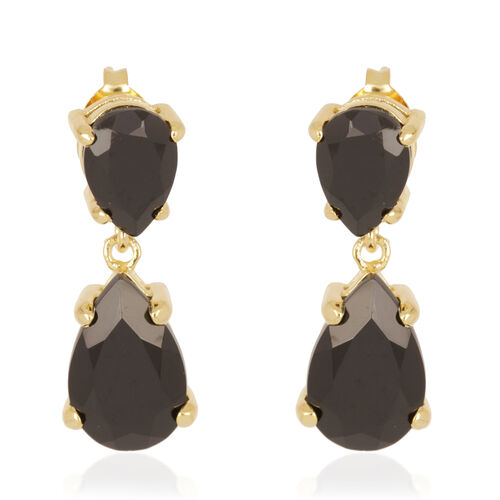Tribal Collection of India Boi Ploi Black Spinel (Pear) Earrings in 14K Gold Overlay Sterling Silver 15.000 Ct.