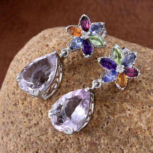 Rose De France Amethyst (Pear), Hebei Peridot, Rhodolite Garnet, Amethyst, Citrine, Tanzanite and Iolite Earrings (with Push Back) in Platinum Overlay Sterling Silver 12.000 Ct.