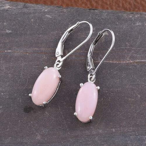 Natural Peruvian Pink Opal (Ovl) Lever Back Earrings in Platinum Overlay Sterling Silver 3.500 Ct.
