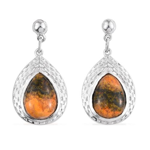 Bumble Bee Jasper (Pear) Earrings (with Push Back) in Platinum Overlay Sterling Silver 11.500 Ct.