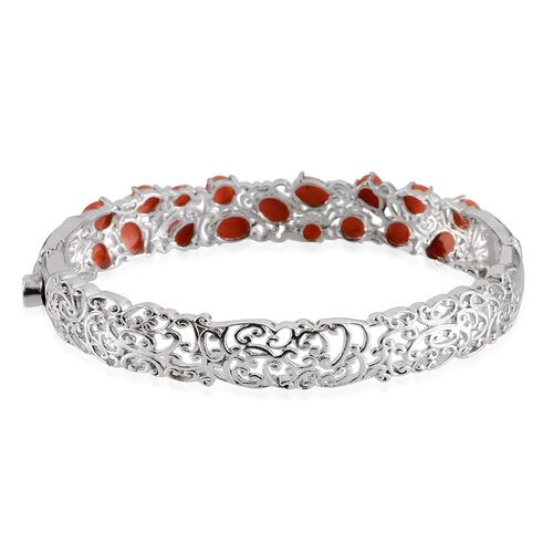 Natural Mediterranean Coral (Ovl) Bangle in Platinum Overlay Sterling Silver (Size 7.5) 9.400 Ct.