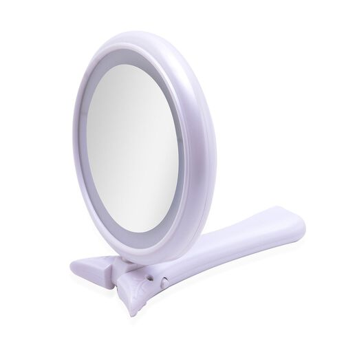 Hand Held Mirror with LED Light on Both Sides (Size 24.6x12.8x2 Cm)