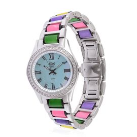 Limited Edition - EON Swiss Movement Multi Colour Jade and White Topaz 3ATM Water Resistant Watch in Stainless Steel 57.600 Ct.