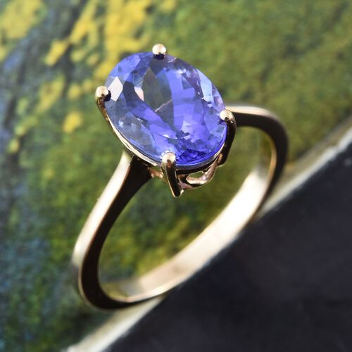 ILIANA 18K Y Gold AAA Tanzanite (Ovl) Solitaire Ring 3.500 Ct.