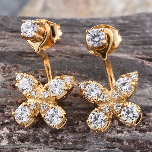 J Francis - 14K Gold Overlay Sterling Silver (Rnd) Jacket Earrings (with Push Back) Made with SWAROVSKI ZIRCONIA