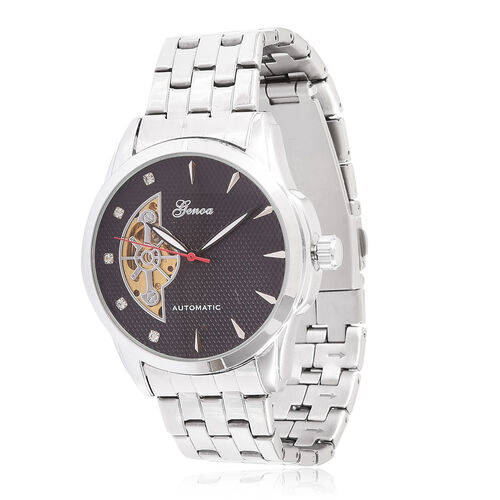 GENOA Automatic Skeleton White Austrian Crystal Studded Black Dial Watch in Silver Tone with Stainless Steel and Glass Back