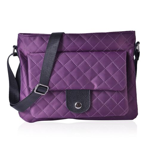 Purple Colour Diamond Pattern Crossbody Bag with Adjustable Shoulder Strap (Size 28x21.5 Cm)
