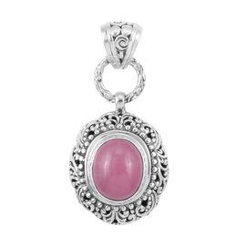 Royal Bali Collection Pink Jade (Ovl) Pendant in Sterling Silver 6.125 Ct. Silver wt 5.14 Gms.