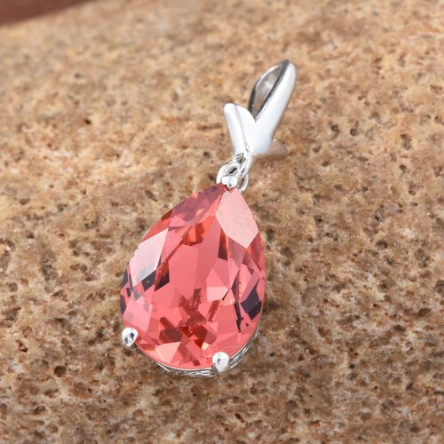 J Francis Crystal from Swarovski - Padparadscha Colour Crystal (Pear) Solitaire Pendant in Platinum Overlay Sterling Silver