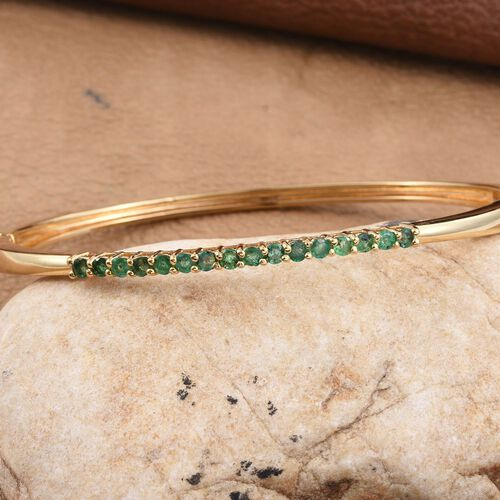 Kagem Zambian Emerald (Rnd) Bangle (Size 7.5) in ION Plated 18K Yellow Gold Bond 1.500 Ct.