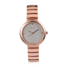 STRADA Japanese Movement Silver Stardust Dial Watch with White Austrian Crystal in Rose Gold Tone