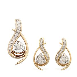 0.25 Carat Diamond Pendant and Earrings Set in 9K Gold SGL Certified (I3/G-H)