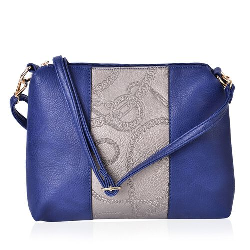 Blue and Metallic Gold Colour Crossbody Bag with Adjustable and Removable Strap (28x23x5.5 Cm)