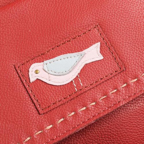 Genuine Leather RFID Blocker Red Colour Sling Bag with Adjustable Shoulder Strap (Size 32X26X10 Cm)