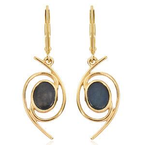 Spectrolite (Ovl) Lever Back Earrings in 14K Gold Overlay Sterling Silver 2.000 Ct.