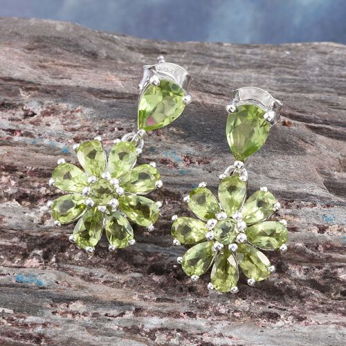 Hebei Peridot (Pear) Floral Earrings (with Push Back) in Platinum Overlay Sterling Silver 4.780 Ct.