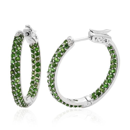 Russian Diopside (Rnd) Hoop Earrings in Platinum Overlay Sterling Silver 3.000 Ct. Silver wt 8.67 Gms. Number of Gemstone 120