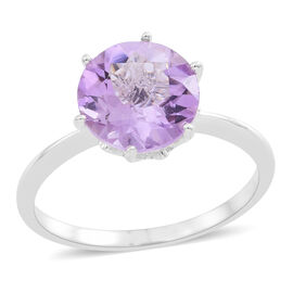 Rose De France Amethyst (Rnd) Solitaire Ring in Sterling Silver 3.000 Ct.