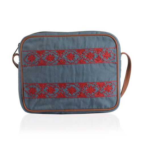 Red and Marine Colour Floral Pattern Jacquard Crossbody Bag (Size 28x22x4.5 Cm)