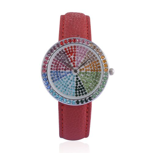 GENOA Japanese Movement Multi Colour Austrian Crystal Studded White Dial Water Resistant Watch in Silver Tone with Stainless Steel Back and Red Leather Strap