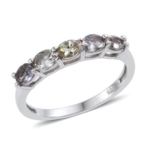 Bondi Blue Tanzanite (Ovl) 5 Stone Ring in Platinum Overlay Sterling Silver 0.750 Ct.