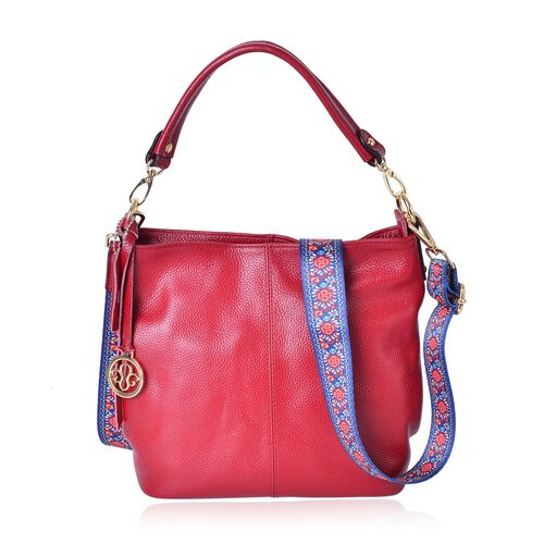 Premium Collection- Top Grain 100 % Genuine Leather Red Colour Crossbody Bag with Colourful Removable Shoulder Strap (Size 26X24X11 Cm)