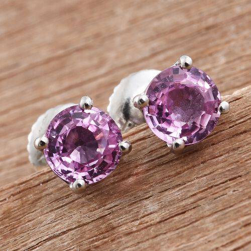 RHAPSODY 950 Platinum AAAA Pink Sapphire (Rnd) Stud Earrings (with Screw Back) 1.250 Ct.