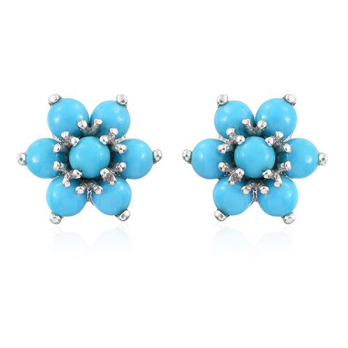 Arizona Sleeping Beauty Turquoise (Rnd) Floral Stud Earrings (with Push Back) in Platinum Overlay Sterling Silver 2.000 Ct.