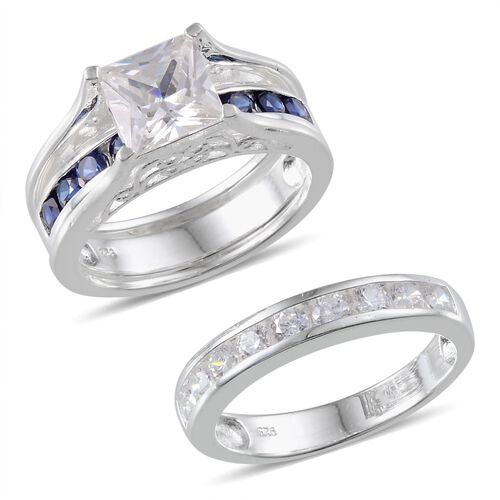 AAA Simulated Diamond (Sqr), Simulated Blue Sapphire 2 Ring Set in Sterling Silver
