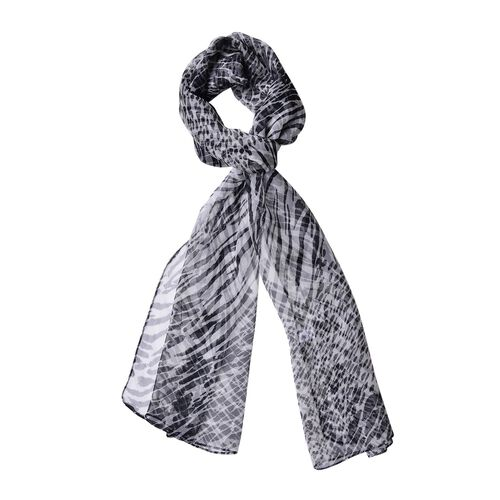 100% Mulberry Silk Black and White Colour Leopard and Tiger Pattern Scarf (Size 180X50 Cm)
