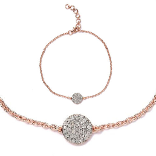 Diamond Pave Disc Bracelet in Rose Plated Silver (7.5 with 1 Inch Extender) 0.25 Carat