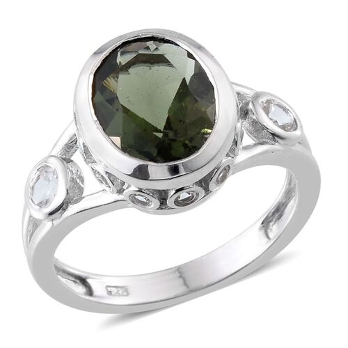 Bohemian Moldavite (Ovl 2.00 Ct), White Topaz Ring in Platinum Overlay Sterling Silver 2.500 Ct.